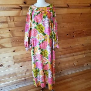 1960s Lauhala Multi-Color Floral Maxi Dress